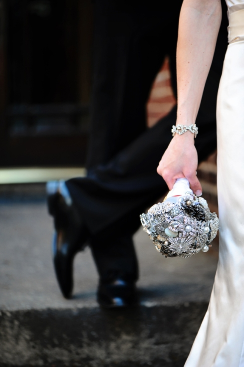 Kellie and her brooch bouquet